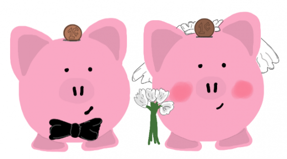 Husband and Wife Piggy Banks with a Penny